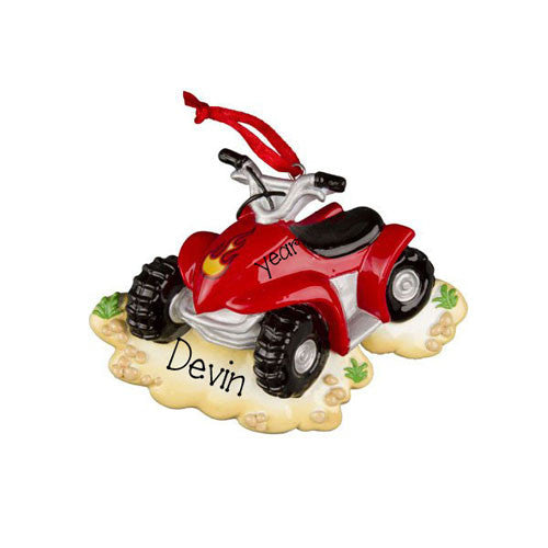 Red 4 Wheeler - Personalized Ornament