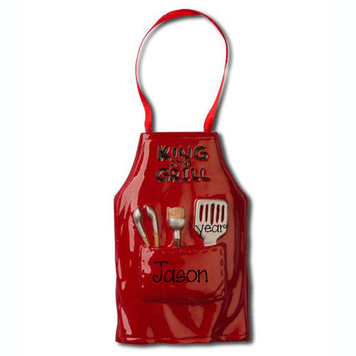 "Red Apron ""King of the grill"" - Personalized Ornament"