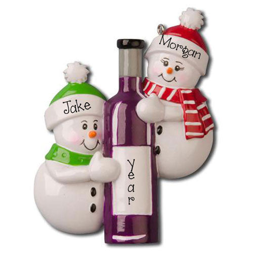 SNOWMAN COUPLE w/ BOTTLE OF WINE - Ornament