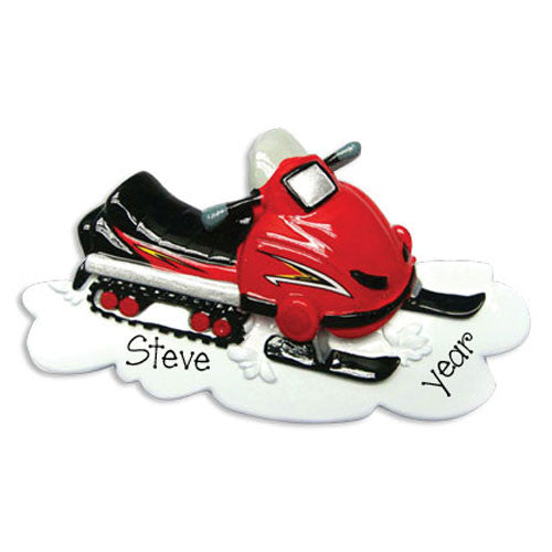 RED SNOWMOBILE - Personalized Ornament