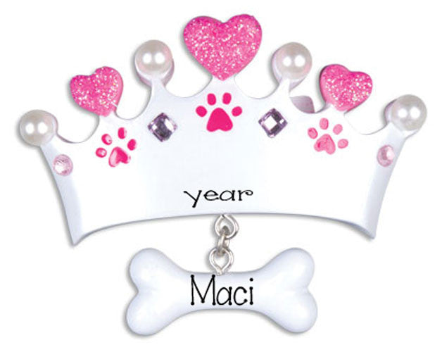 DOG  Pink Princess Crown - Personalized Christmas Ornament