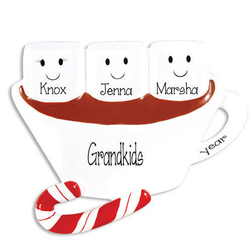 3 GRANDKIDS HOT CHOCOLATE ORNAMENT / MY PERSONALIZED ORNAMENTS