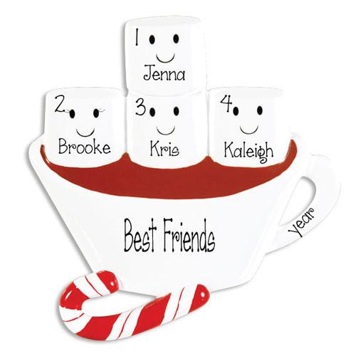 4 FRIENDS HOT CHOCOLATE ORNAMENT / MY PERSONALIZED ORNAMENTS
