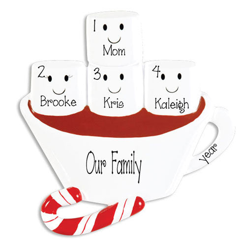 SINGLE PARENT WITH 3 KIDS HOT CHOCOLATE ORNAMENT / MY PERSONALIZED ORNAMENTS