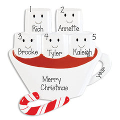 FAMILY OF 5 HOT CHOCOLATE ORNAMENT / MY PERSONALIZED ORNAMENTS