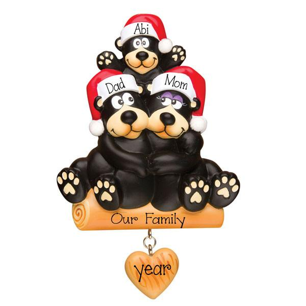 black bear family of 3 ORNAMENT / MY PERSONALIZED ORNAMENTS