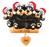 BLACK BEAR FAMILY OF 4 ORNAMENT / MY PERSONALIZED ORNAMENTS