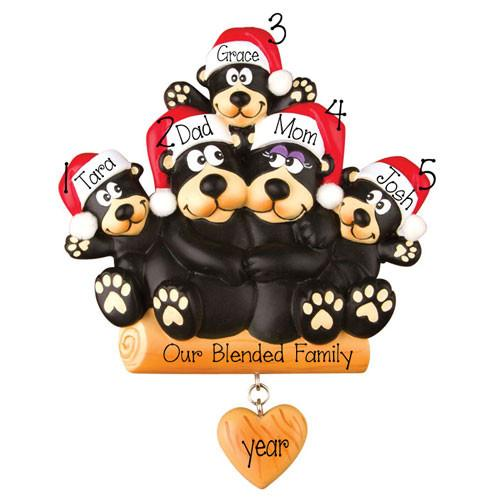 BLACK BEAR~Family of 5~Personalized Christmas Ornament