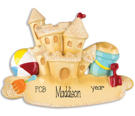 SAND CASTLE - Personalized Ornament
