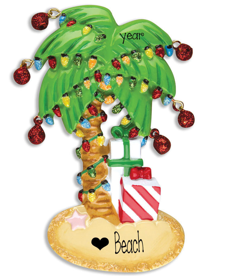 DECORATED PALM TREE / BEACH - Personalized Ornament