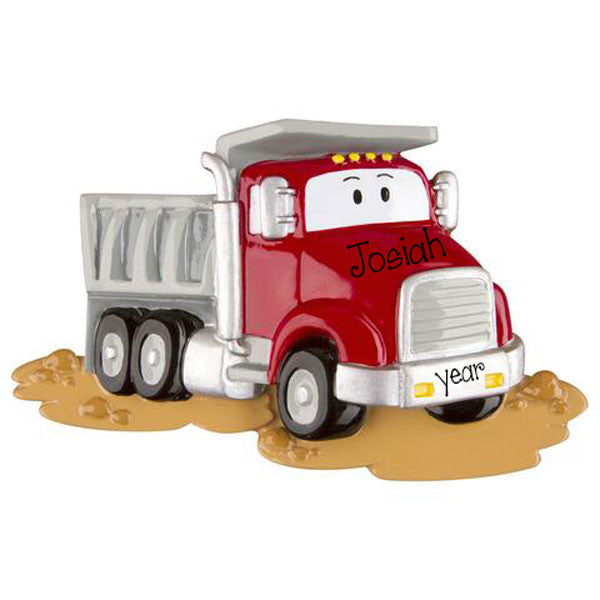 RED DUMP TRUCK - Personalized Ornament