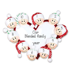 FAMILY OF 10 HEART TRIMMED IN RED GLITTER / MY PERSONALIZED ORNAMENTS