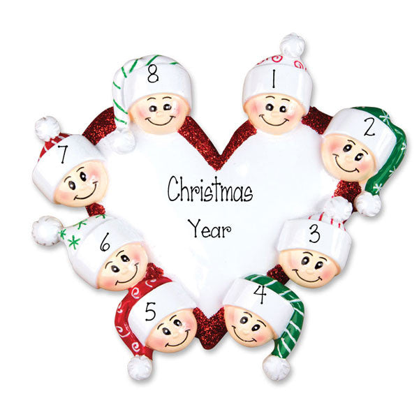 Family of 8 Heart - Personalized Ornament