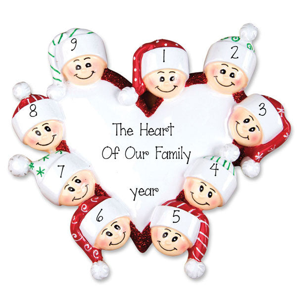 Family of 9 Heart - Personalized Ornament