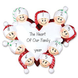 FAMILY OF 9 HEART TRIMMED IN RED GLITTER / MY PERSONALIZED ORNAMENTS