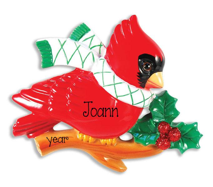 CARDINAL ON A BRANCH - Personalized Ornament
