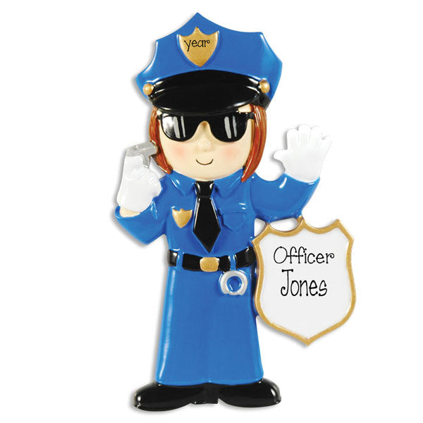 FEMALE POLICE OFFICER - Personalized Ornament