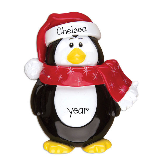PENGUIN w/ RED SCARF - Personalized Ornament