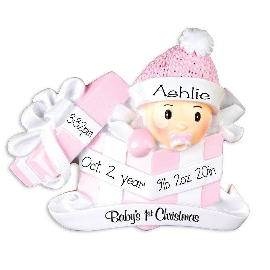 Baby Girl In Present 1st Christmas - Ornament