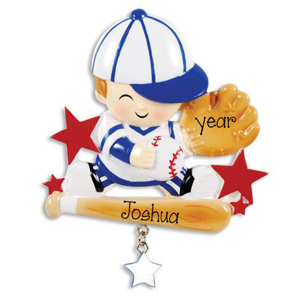 LITTLE BOY BASEBALL PLAYER - Personalized Ornament