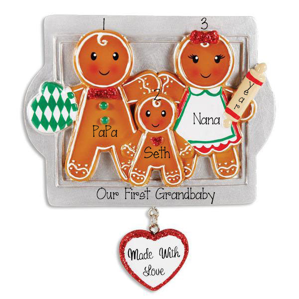 Our First Grandbaby Gingerbread Made With Love~Personalized Ornament