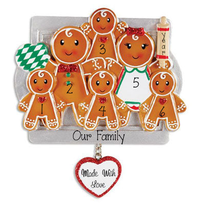 Family of 6 GINGERBREAD~Personalized Christmas Ornament