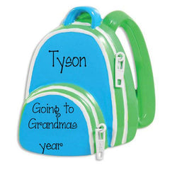 BOY BLUE BACKPACK GOING TO GRANDMAS / MY PERSONALIZED ORNAMENTS