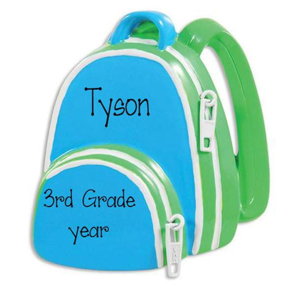 BLUE AND GREEN BACKPACK / MY PERSONALIZED ORNAMENT