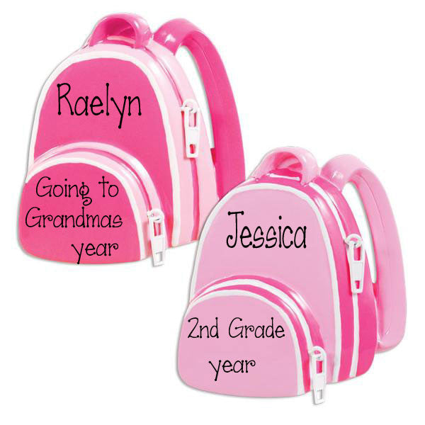 PINK BACKPACK - Personalized Ornament