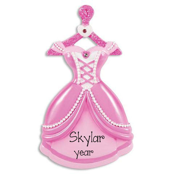 PINK PRINCESS GOWN - Personalized Ornament