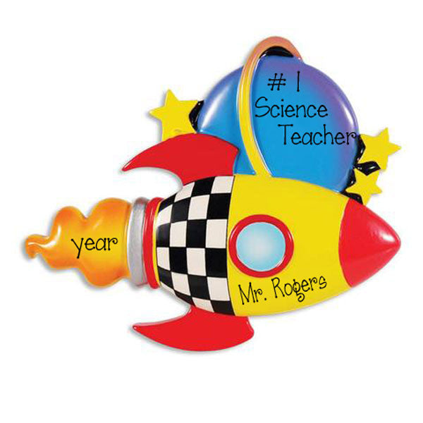 SCIENCE TEACHER / ROCKET SHIP - Personalized Ornament