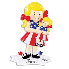 BLONDE GIRL WITH AMERICAN GIRL DOLL /  MY PERSONALIZED ORNAMENT