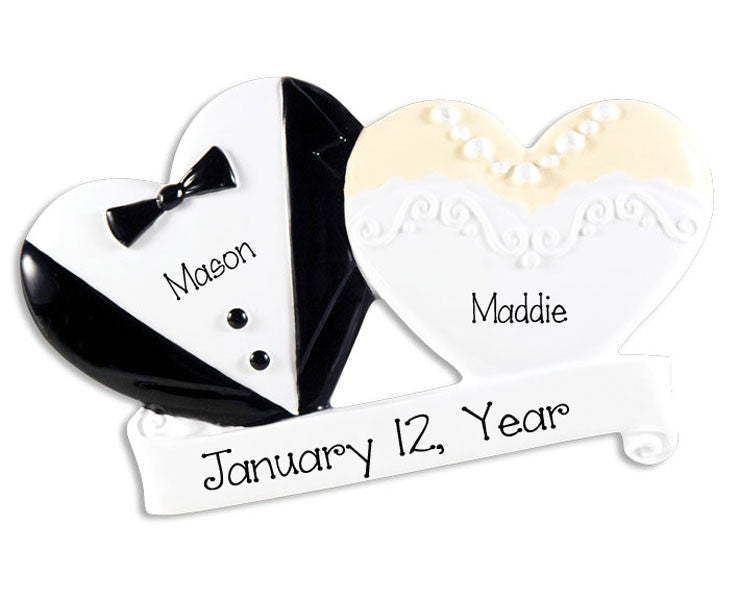 TUX and DRESS Wedding Hearts~Personalized Ornament