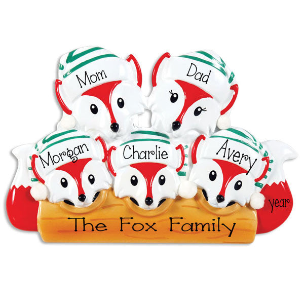 FOX FAMILY OF 5 ORNAMENT / MY PERSONALIZED ORNAMENTS
