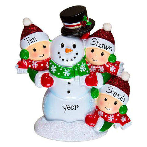 family of 3 BUILDING A SNOWMAN ORNAMENT, personalized christmas ornament
