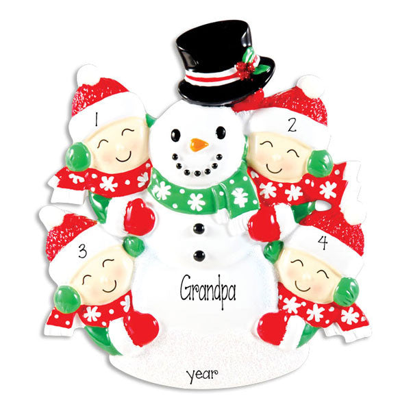 Snowman with 4 GRANDKIDS~Personalized Christmas Ornament
