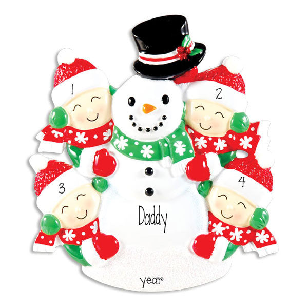 SINGLE PARENT WITH 4 KIDS SNOWMAN ORNAMENT / MY PERSONALIZED ORNAMENTS