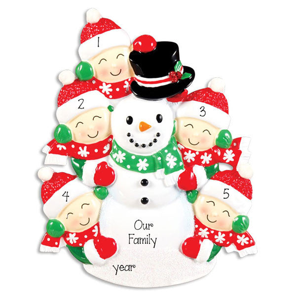 Building a Snowman~Family of 5~Personalized Christmas Ornament