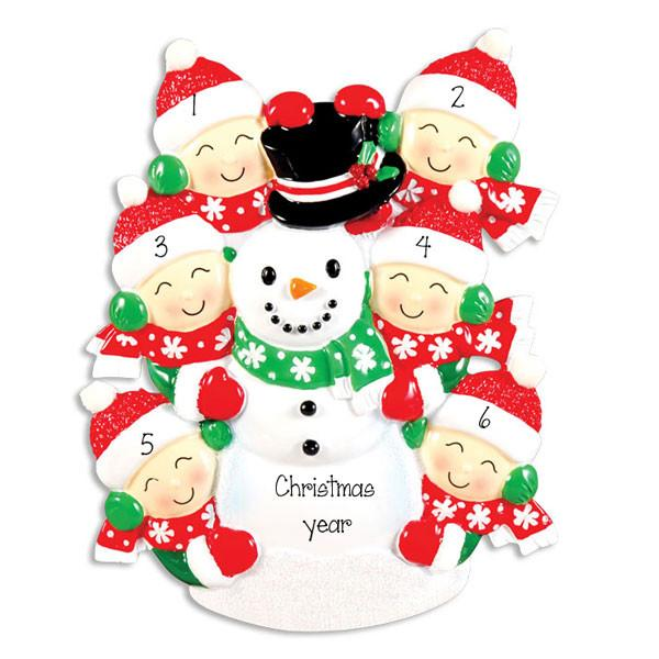 FAMILY OF 6 building a snowman ORNAMENT / MY PERSONALIZED ORNAMENTS