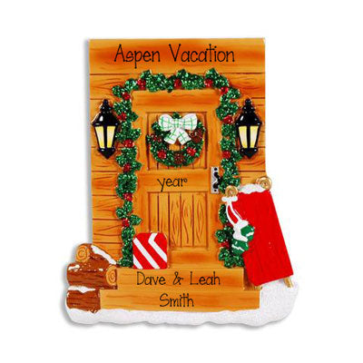 Decorated Rustic Front Door ~ Personalized Christmas Ornament