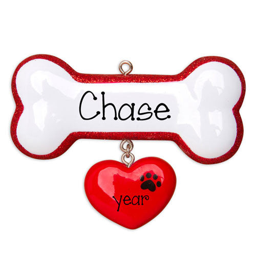 DOG BONE with Red Heart - Personalized Christmas Ornament