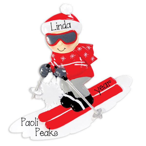 SNOW SKIER in red~Personalized Christmas Ornament
