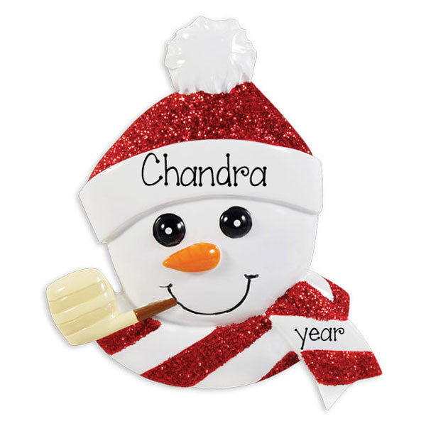 SNOWMAN with Corn Cob Pipe~Personalized Christmas Ornament