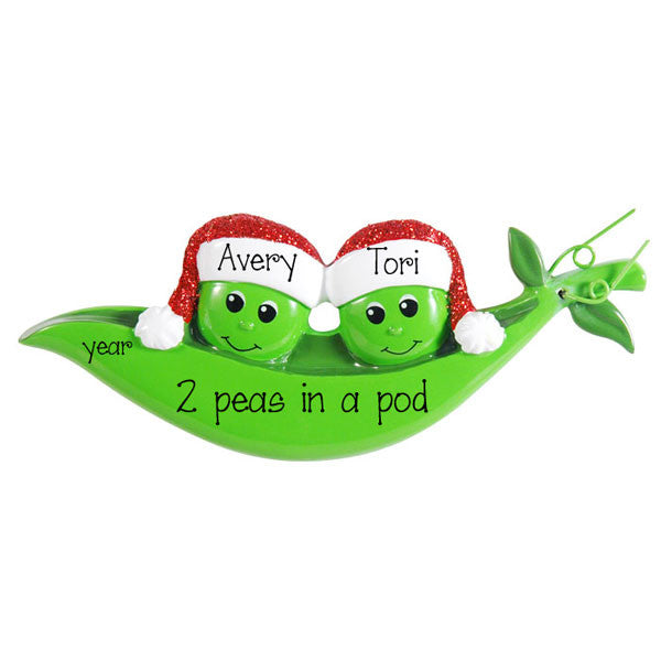 Two PEAS in a POD~Personalized Christmas Ornament