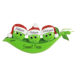 family of 3 Peas Ornament, personalized christmas ornament