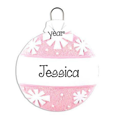Pink Glitter Ball-Personalized christmas Ornament