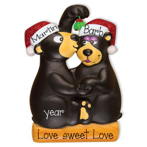 BLACK BEAR WITH MISTLETOE COUPLE / MY PERSONALIZED ORNAMENT