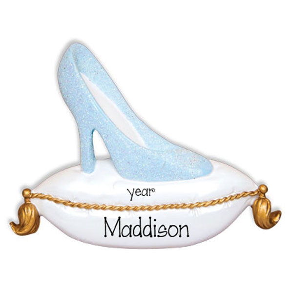 CINDERELLA BLUE GLITTER SLIPPER - Personalized Ornament
