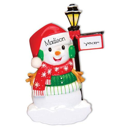 Snowman leaning on a lamp post~Personalized Christmas Ornament
