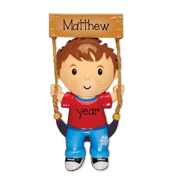 BOY SWINGING - Personalize Ornament